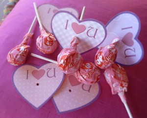 Piruletas con corazones de I love you