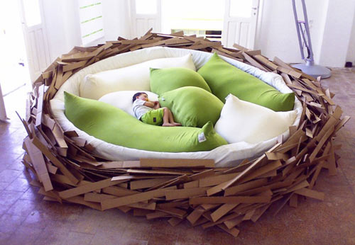 cama infantil original redonda en forma de nido de pájaro