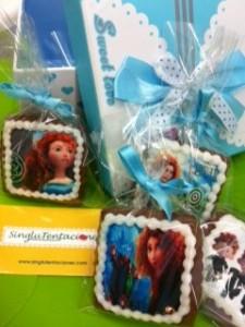 galletas sin gluten decoradas con los personajes de la película Brave de Disney Pixar