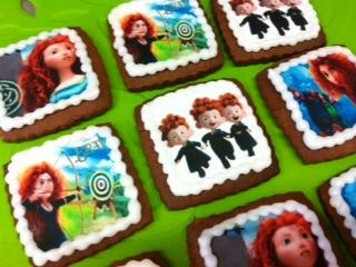 Galletas sin gluten decoradas con personajes de Brave de Disney Pixar