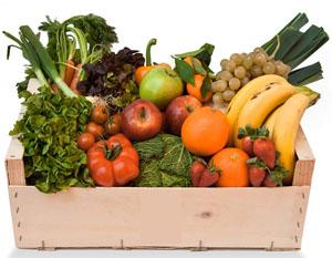 cesta fruta y verdura fresca