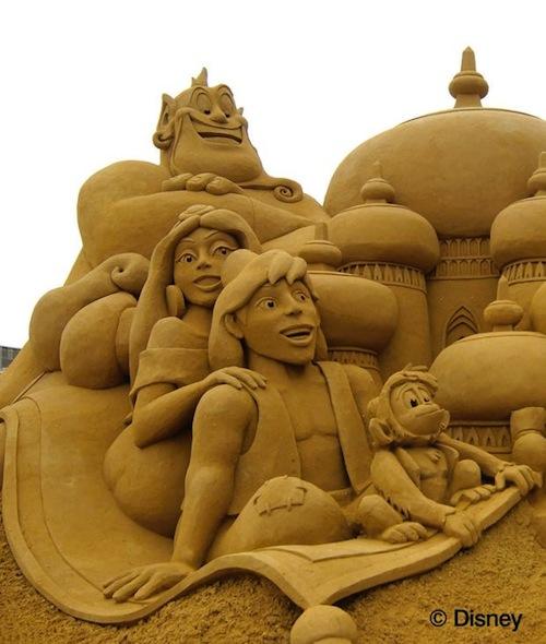 figura de arena de aladino y jazmin