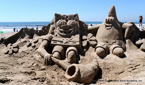figura de arena de bob esponja y patricio