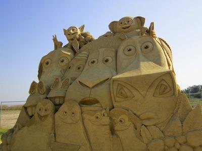 figura de arena con los personajes de madagascar