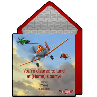 Invitaciones de Aviones de Disney para descargar y editar gratis