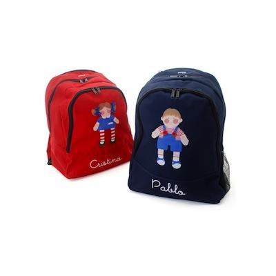 Mochila escolar personalizada roja para niña y azul para niño
