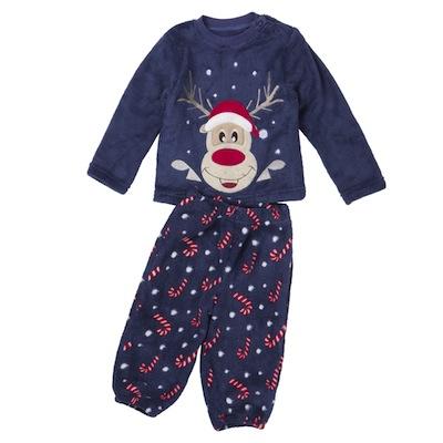 pijamas navidad para bebés y niños azul reno