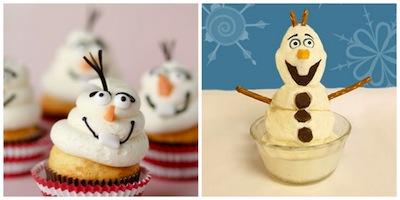Cupcakes de Olaf de Frozen