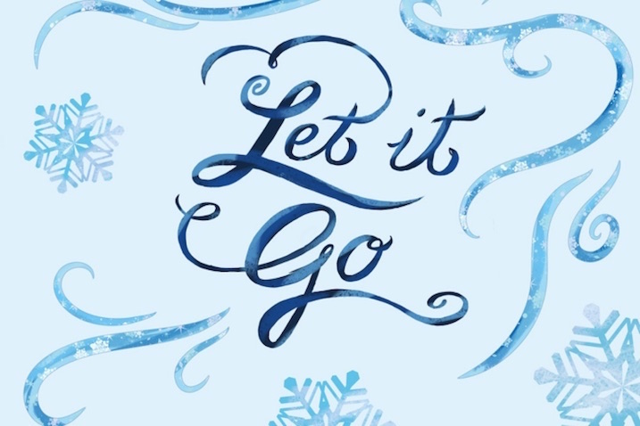 "Tarjetas de Frozen con la frase ""Let it go"" para decorar fiesta"