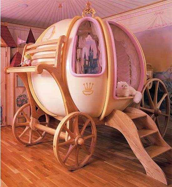 Cama niña en forma de carruaje de Cenicienta