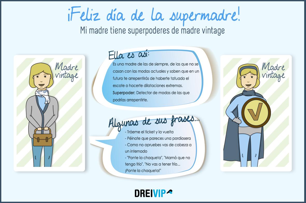 Infografia Dia de la madre superpoder mama vintage