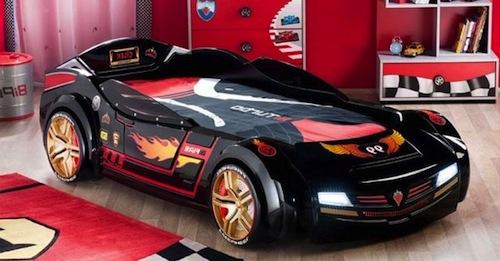 cama infantil en forma de coche de carrera hot wheels
