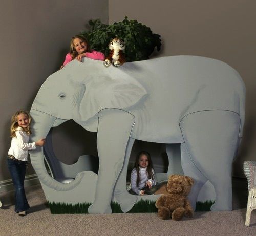 cama infantil en forma de elefante gris