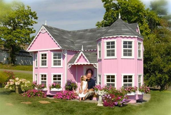 Casa de jardín rosa estilo Victoriano