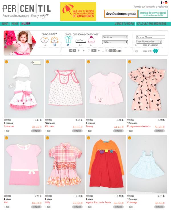 tienda online de ropa de segunda mano infantil en Percentil