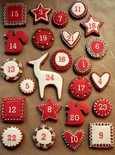 Calendario de adviento hecho con galletas
