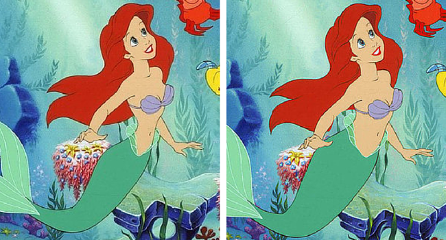 La Sirenita imagen de Disney e imagen de BuzzFeed/Loryn Brantz/Walt Disney Studios