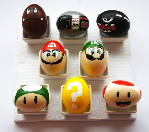 decorar huevos de pascua supermario
