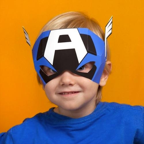 Máscara para disfraz infantil casero del Capitán América