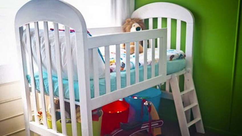 cuna bebe convertida en cama infantil