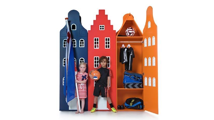 armarios infantiles colores azul rojo naranja