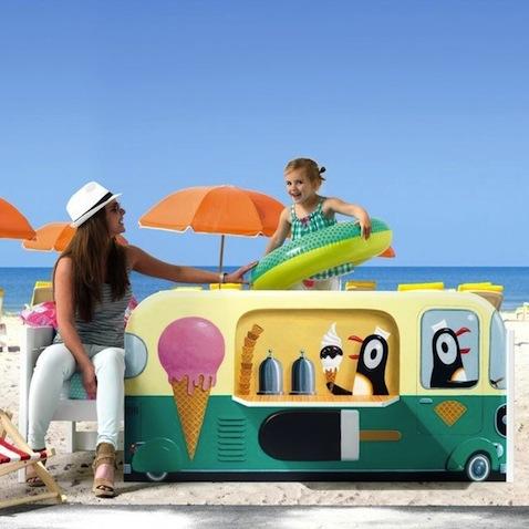 cama infantil pinguinos helados playa