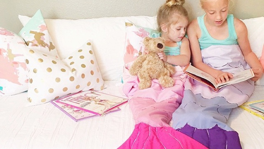 mantas infantiles colas sirenas rosa morada