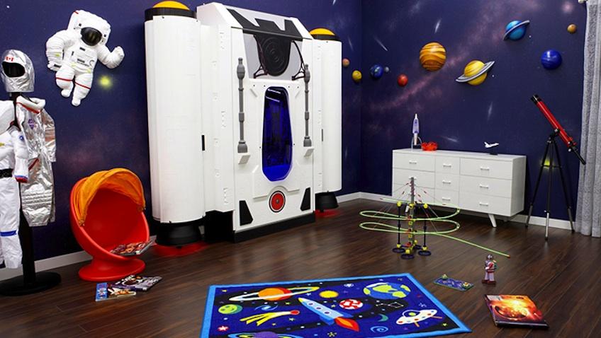 decoracion habitacion infantil cama nave espacial