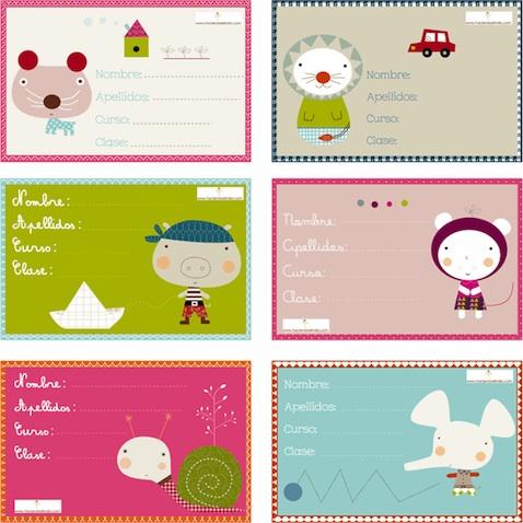Etiquetas escolares para libros y cuadernos