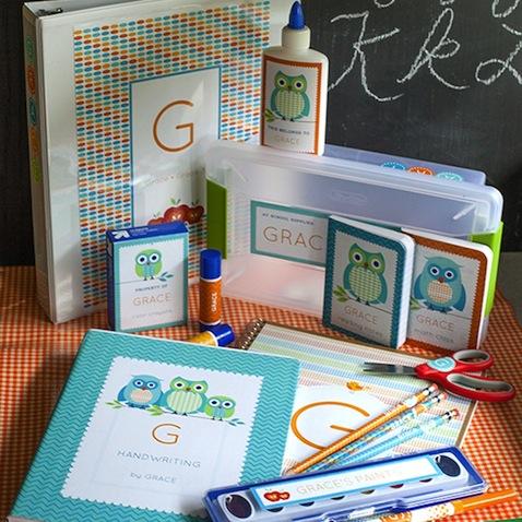 Etiquetas escolares personalizadas para imprimir gratis buhos azules