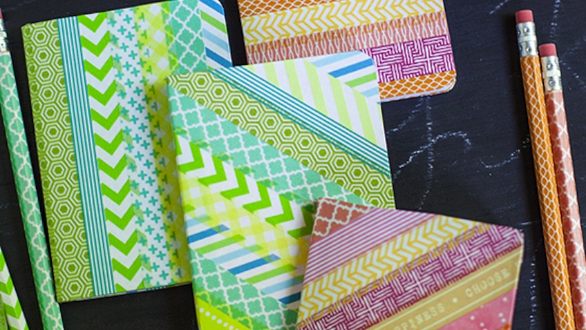 decorar cuadernos y lapices con washi tape