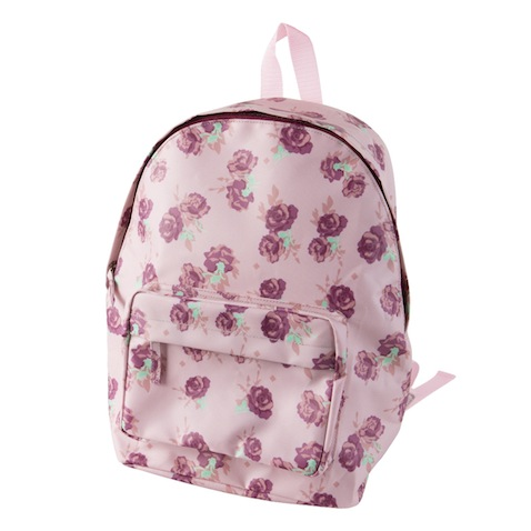 mochila escolar rosa con flores