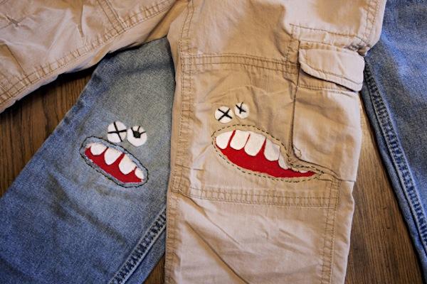 parches monstruos pantalones infantiles