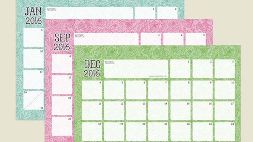 Calendarios 2016 para imprimir gratis
