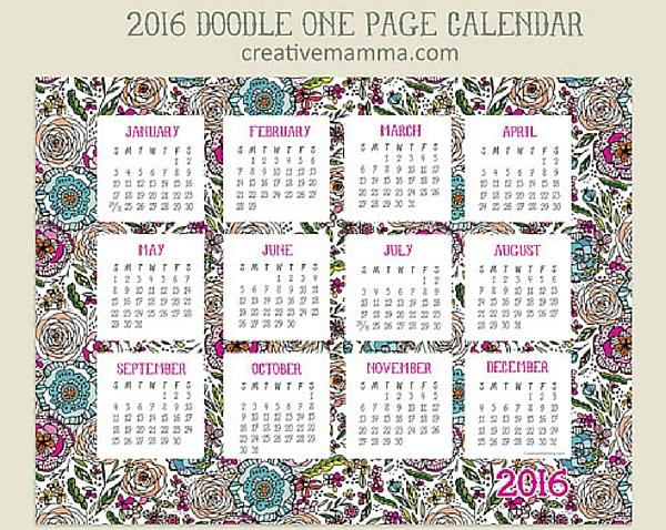 Calendario año 2016 para imprimir