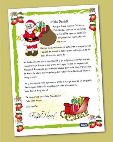 Carta personalizada de Papá Noel de Stikets, descarga gratis