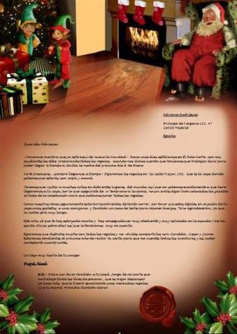 Carta Papá Noel por correo certificado