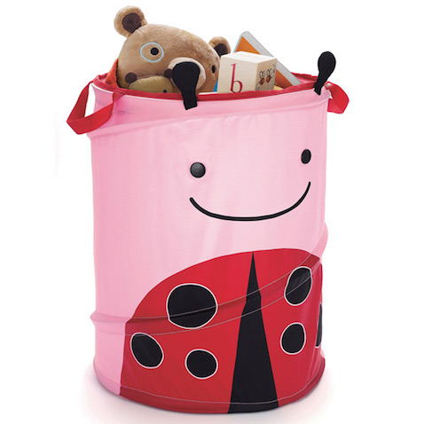 cesto para guardar juguetes mariquita rosa