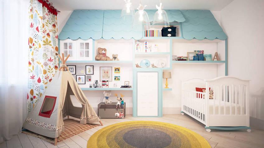 habitación infantil casa y tienda de campaña