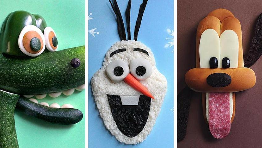 personajes de Disney hechos con comida