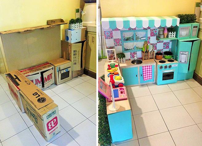 Cocina infantil de juguete hecha de cart n for Planos para hacer una cocina de juguete