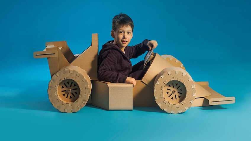 juguetes de cartón DIY coche formula 1