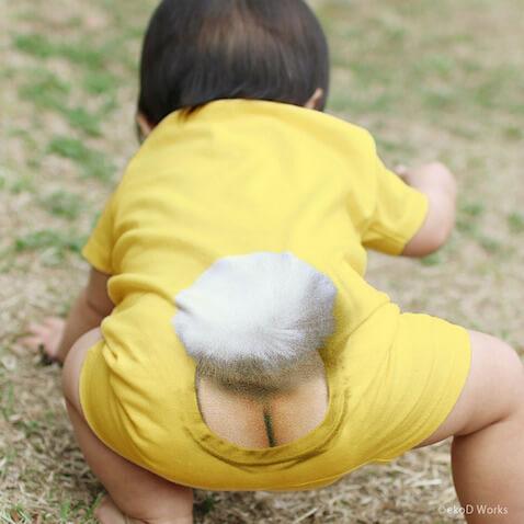 Body para bebé amarillo con cola de conejo