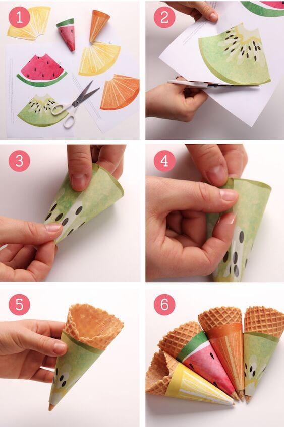 Decorar helados con imprimibles para tus conos - Calorias de un cono de helado ...