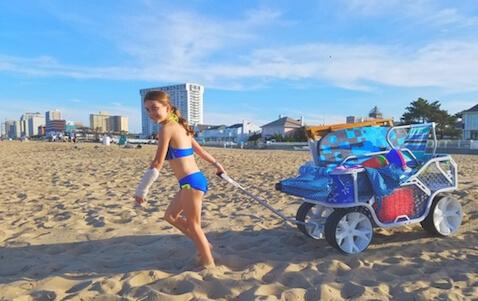 carrito de playa es fácil de maniobrar