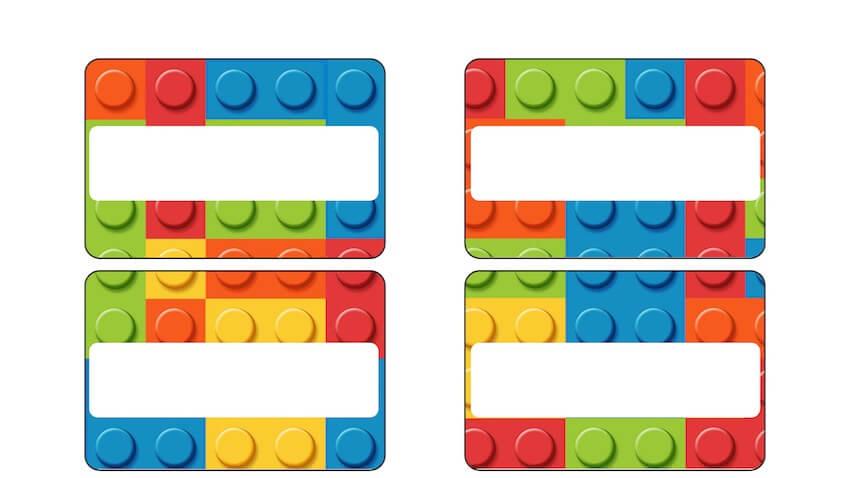 etiquetas lego bloques de lego