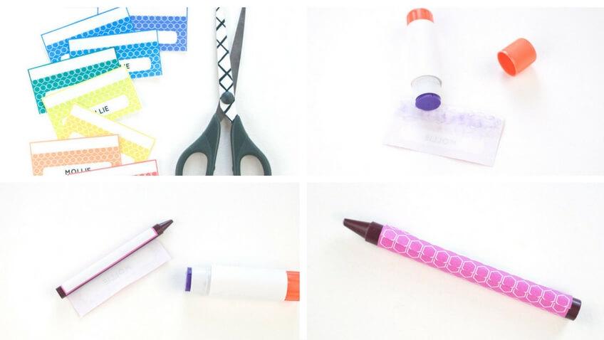 etiquetas personalizadas para marcar lápices de cera