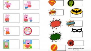 Etiquetas para imprimir de Peppa Pig y Superhéroes