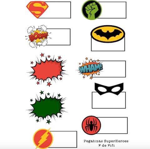 Etiquetas para imprimir de superhéroes