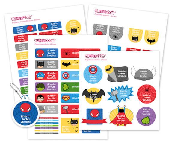 Pack etiquetas personalizadas y pegatinas Superhéroes de Tutete